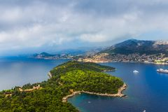 Dubrovnik - Lokrum aerial Royalty Free Stock Photography