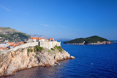 Dubrovnik and Lokrum Island on Adriatic Sea Stock Images