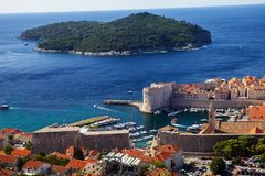 Dubrovnik Lokrum island in background ,Croatia Stock Images