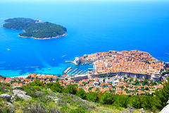 Dubrovnik and Lokrum island. Old town of Dubrovnik and Lokrum island, Croatia Stock Photo