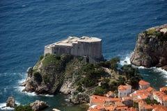 Dubrovnik Lovrijenac Fort. Lovrijenac Fort, Dubrovnik, aerial view Stock Photography