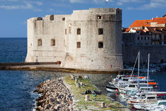 Dubrovnik Marina and Fortifications Stock Images