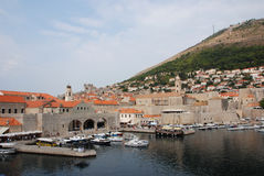 Dubrovnik marina. Old harbour of Dubrovnik, Croatia by the walls of the Old Town Royalty Free Stock Photos