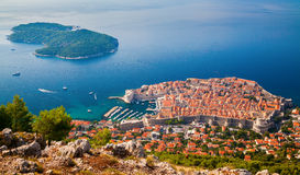 Dubrovnik medieval Old town and Lokrum island Stock Photos