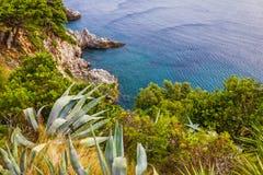 Dubrovnik-Meerblick, adriatische Meer Küste Kroatiens, Stockfotografie