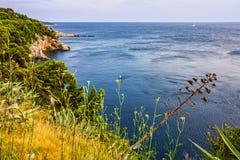 Dubrovnik-Meerblick, adriatische Meer Küste Kroatiens, Stockfotos