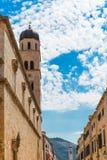 Dubrovnik miasta kościół i ściana Chorwacja Obraz Stock