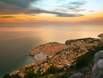 Dubrovnik momentos antes de la salida del sol Fotografía de archivo libre de regalías
