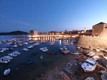 Dubrovnik at night, Croatia. Dubrovnik's old port at night, Croatia Stock Photos