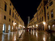 Dubrovnik by night (Stradun) Stock Photography