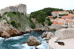 Dubrovnik och St Lawrence Fortress Fotografering för Bildbyråer