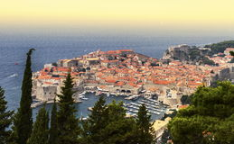 Dubrovnik old city on the Adriatic Sea, South Dalmatia region, C. Aerial view of Dubrovnik old city on the Adriatic Sea, South Dalmatia region, Croatia stock photos