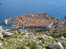 Dubrovnik old city as seen from the hilltop of Mt. Srd,. Croatia Royalty Free Stock Images