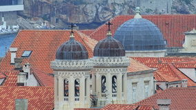 Dubrovnik old city with church domes stock footage