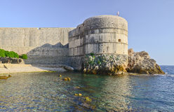 Dubrovnik old city walls at sunset Royalty Free Stock Photography