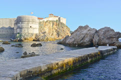 Dubrovnik old city walls at sunset Royalty Free Stock Photo