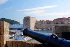 Dubrovnik - Old Harbor. View trought the wall on Dubrovnik coast Stock Photo
