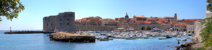 Dubrovnik old harbor Panorama hdr Stock Photos