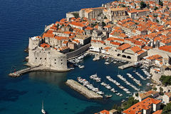 Dubrovnik, old harbour and Fort St John (Sv Ivana) Royalty Free Stock Photo