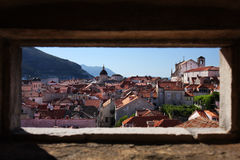 Dubrovnik old town. View through the embrasure in the fortification wall Royalty Free Stock Images