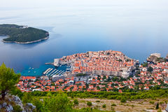 Dubrovnik old town. Aerial shot from the hill Srd above the city Royalty Free Stock Photography