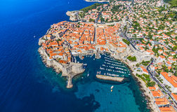 Dubrovnik old town. Aerial helicopter shoot of Dubrovnik old town. Main street Stradun (Placa) full visible Stock Photo