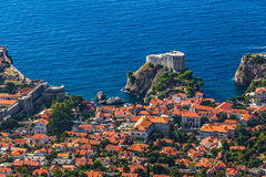 Dubrovnik old town. Aerial helicopter shoot of Dubrovnik old town. St. Lawrence Fortress or Lovrijenac Royalty Free Stock Image