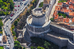 Dubrovnik old town. Aerial helicopter shoot of Dubrovnik old town - fortress Minceta detail Stock Photography