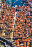 Dubrovnik old town. Aerial helicopter shoot of Dubrovnik old town. Main street Stradun (Placa) full visible Stock Photography