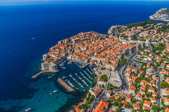 Dubrovnik old town. Aerial helicopter shoot of Dubrovnik old town Royalty Free Stock Photo