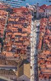 Dubrovnik old town. Aerial helicopter shoot of Dubrovnik old town. Main street Stradun (Placa) full visible Stock Image