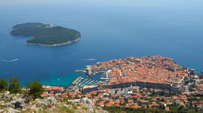 Dubrovnik old town city wall and Lokrum Island Stock Photos