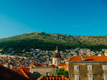 Dubrovnik Old Town, Croatia. Tiled roofs of houses. Church in th Stock Photo