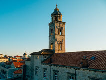 Dubrovnik Old Town, Croatia. Tiled roofs of houses. Church in th Stock Photography