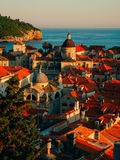 Dubrovnik Old Town, Croatia. Tiled roofs of houses. Church in th Royalty Free Stock Photo