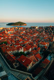 Dubrovnik Old Town, Croatia. Tiled roofs of houses. Church in th Royalty Free Stock Images