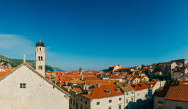 Dubrovnik Old Town, Croatia. Tiled roofs of houses. Church in th Royalty Free Stock Image