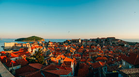Dubrovnik Old Town, Croatia. Tiled roofs of houses. Church in th Royalty Free Stock Photography