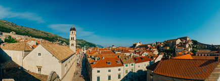 Dubrovnik Old Town, Croatia. Tiled roofs of houses. Church in th Royalty Free Stock Photos