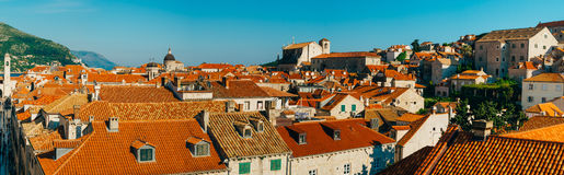 Dubrovnik Old Town, Croatia. Tiled roofs of houses. Church in th Stock Images