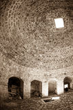 Dubrovnik old town - fortress Bokar. Interior with light coming through the vents. Fish eye lens shot Stock Photo