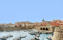 Dubrovnik old town harbor with building and Venetian Church Royalty Free Stock Image