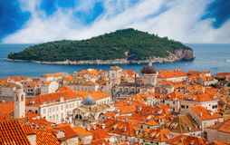Dubrovnik old town with island Lokrum in a distance Stock Images
