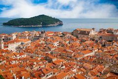 Dubrovnik old town and island Lokrum Royalty Free Stock Photos