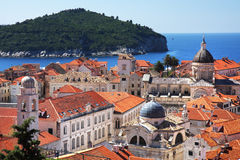 Dubrovnik old town and Lokrum. Island on the Adriatic Sea in Croatia Stock Photos