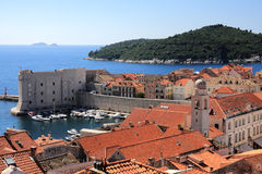 Dubrovnik old town and Lokrum. Island on the Adriatic Sea in Croatia Royalty Free Stock Photography