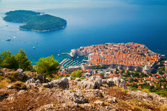 Dubrovnik Old town and Lokrum island Royalty Free Stock Photos
