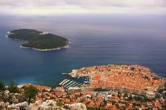 Dubrovnik Old Town and Lokrum island. Dubrovnik, Croatia Royalty Free Stock Image
