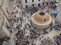 Dubrovnik old town main square with stone pavement Stock Images