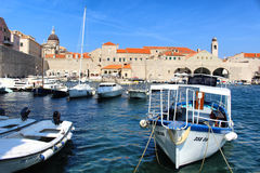 Dubrovnik old town port boats Royalty Free Stock Photo